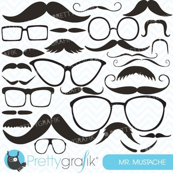 Moustache Prop, Mustache clipart commercial use, vector graphics -CL558