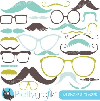 Moustache Prop, Mustache clipart commercial use, vector graphics - CL560