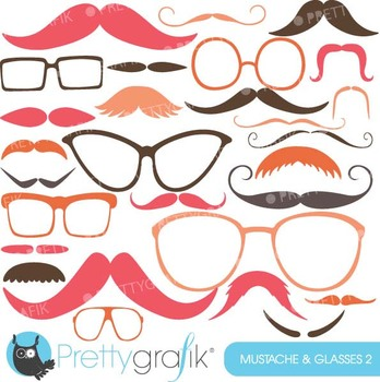 Moustache Prop, Mustache clipart commercial use, vector graphics - CL561