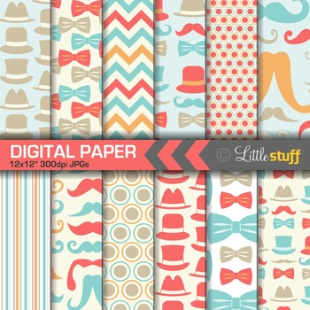 Moustache, Tophats, Bowties, Digital Paper, Turquoise, Orange and Coral
