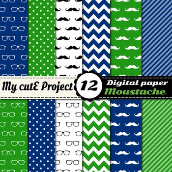 Moustache and Glasses Digital Paper in green and blue colors - Mustache