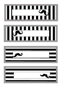 Moustache printable labels