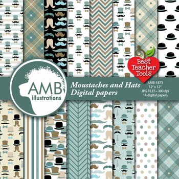 Moustaches Digital Papers, Movmember Papers {Best Teacher Tools} AMB-1873