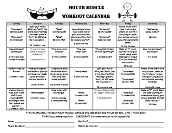Mouth Muscle Workout Calendar