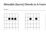 Movable A Shape chords for Guitar