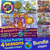 Movable Clipart | 4 Seasons Digital Puzzles (16 piece puzz