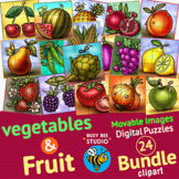 Movable Clipart | Fruit and Vegetables | Digital Puzzles (
