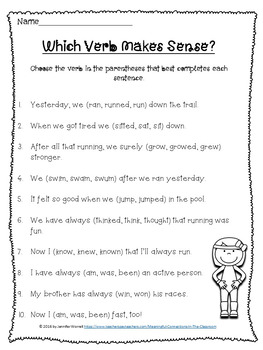 Movable Literacy: Verb Sorts and Activities