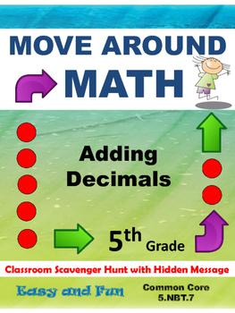 Addition of Decimals Scavenger Hunt Common Core Grade 5