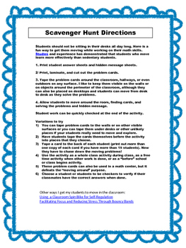 Math Scavenger Hunt: Subtraction of Decimals