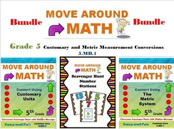 Move Around Math Scavenger Hunt Measurement Bundle 5.MD.1 Grade 5