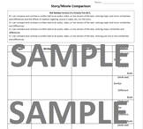 Movie/Book Comparison Worksheet (CCSS Aligned)