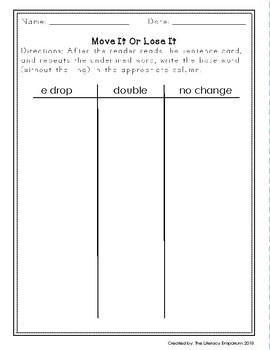 Move It Or Lose It Word Study File Folder Game (Adding -ing)