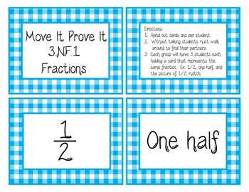 Move It Prove It Card Matching Game 3.NF.1: Fractions-3.NF.A.1