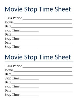 Move Stop Time Sheet