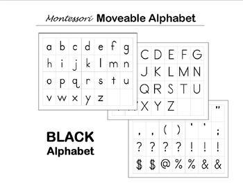 Moveable Alphabet Cards - Black - Montessori