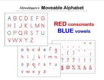 Moveable Alphabet Cards - RED Consonants & BLUE Vowels - Montessori