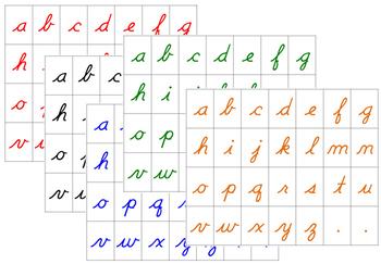 Moveable Alphabet Cursive Letters: 5 Colors