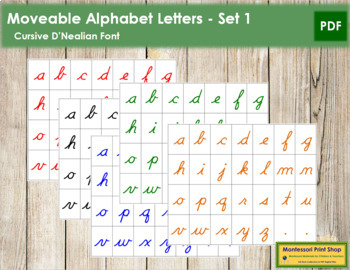 Moveable Alphabet Cursive Letters: 5 Colors
