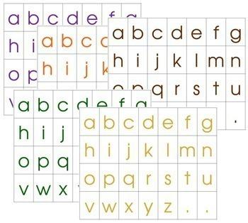 Moveable Alphabet Print Letters: 5 Colors - Set 2