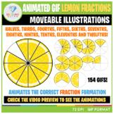 Moveable Animated GIF Lemon Slice Fractions Clip Art