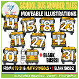Moveable Clip Art: School Bus Number Tiles {Back to School}
