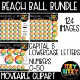 Moveable Clipart BEACH BALL LETTER AND NUMBER TILE CLIPART Summer Clipart