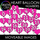 Moveable Heart Balloon Numbers 0-20 (Valentine Moveable Numbers)