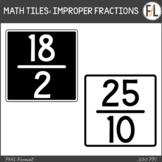 Moveable Math Tiles for IMPROPER FRACTIONS: Black & White