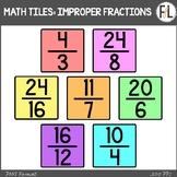 Moveable Math Tiles for IMPROPER FRACTIONS: Pastel Colors