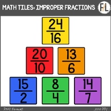 Moveable Math Tiles for IMPROPER FRACTIONS: Primary Colors