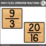 Moveable Math Tiles for IMPROPER FRACTIONS: Wood Look