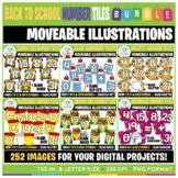 Moveable Images: Back to School Number Tiles Clip Art BUNDLE