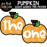 Moveable Images Clipart - Pumpkin Sight Words Pre-Primer {
