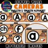 Moveable LETTER TILES: CAMERAS (English & Spanish)
