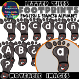 Moveable LETTER TILES: FOOTPRINTS (English & Spanish)