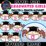 Moveable LETTER TILES: GRADUATED GIRLS - GRADUATION THEMED