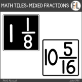Moveable Math Tiles for MIXED FRACTIONS: Black & White
