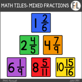 Moveable Math Tiles for MIXED FRACTIONS: Primary Colors