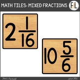 Moveable Math Tiles for MIXED FRACTIONS: Wood Look