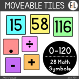 Moveable Math Tiles:  Numbers 0-120 & Math Symbols in Past