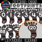Moveable NUMBER TILES (0-120): FOOTPRINTS