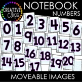 Moveable Notebook Paper Numbers 0-20 (School Moveable Images)