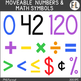 Moveable Numbers & Math Symbols:  PRIMARY COLORS