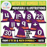Moveable Numbers: Witch Hat Tiles Clip Art