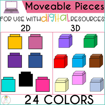 Digital Pieces Counting Blocks Moveable Clipart for Digital Resources