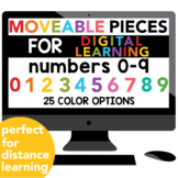 Moveable Pieces Numbers 0-9 for Digital Resources & Distan