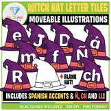 Moveable Witch Hat Letter Tiles Clip Art