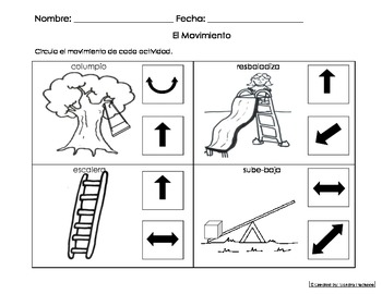 Movement Activity Worksheet Eng and Spanish