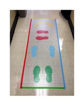 Movement Break Into Classroom: Footprints Hopscotch floor mat idea